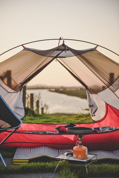 tent camping with sleeping pad