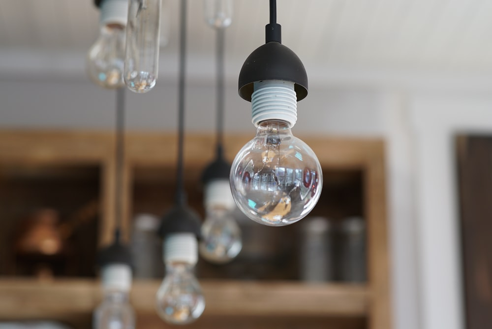 clear glass pendant lamp turned off
