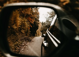 black car side mirror reflecting green trees during daytime