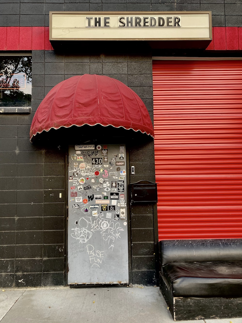 red and black roll up door