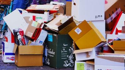 brown cardboard boxes on brown cardboard box