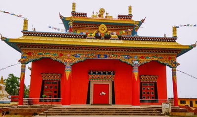 red and gold chinese temple buddhist temple zoom background