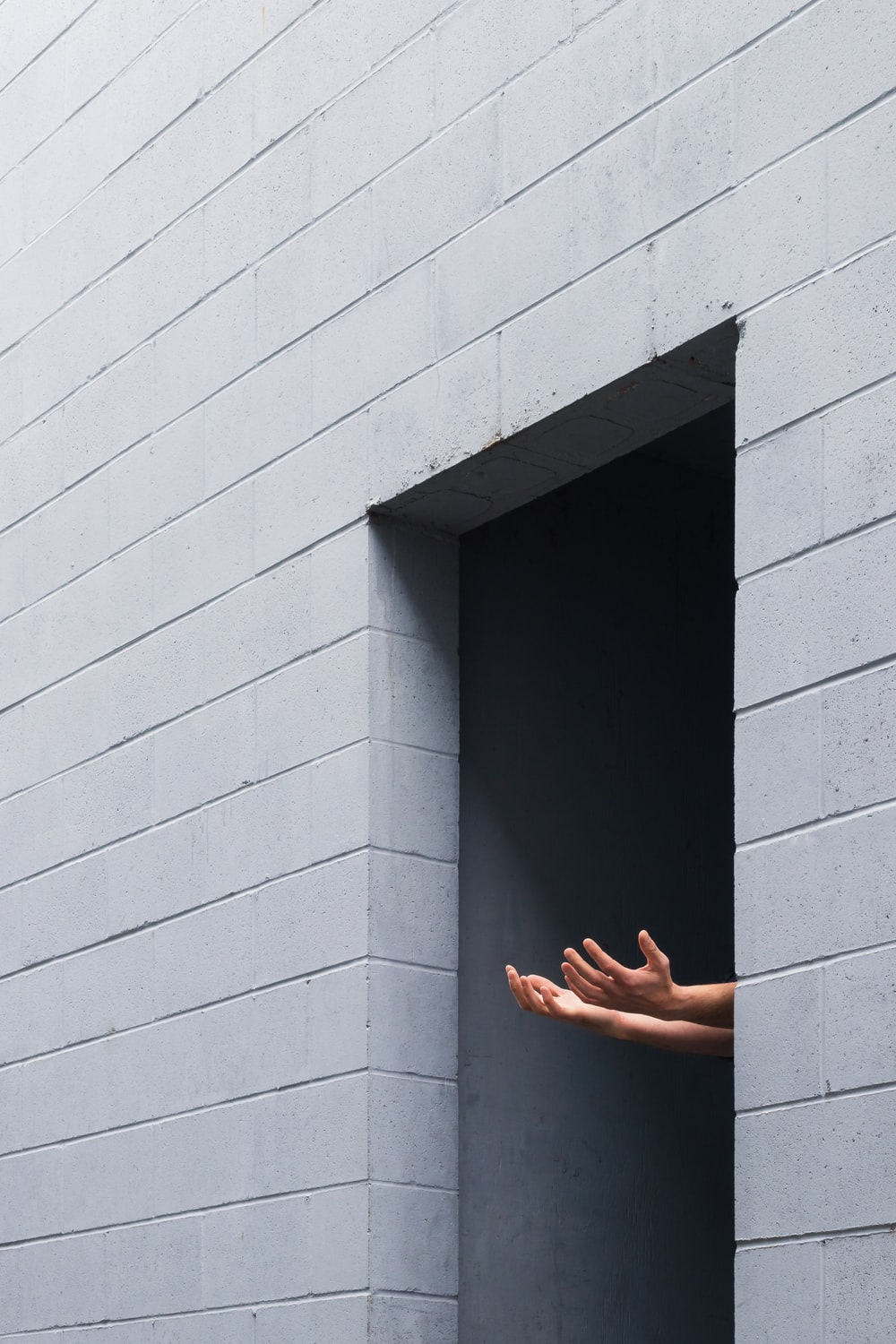 person standing on gray concrete wall