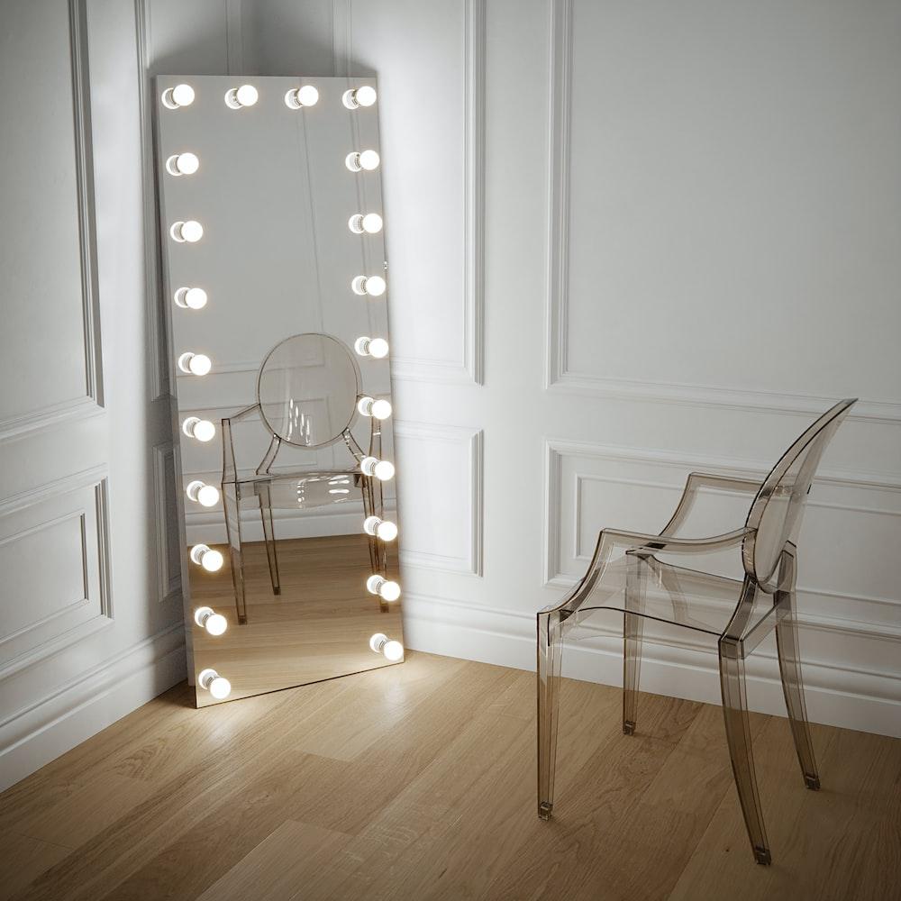 brown wooden chair near white wooden door