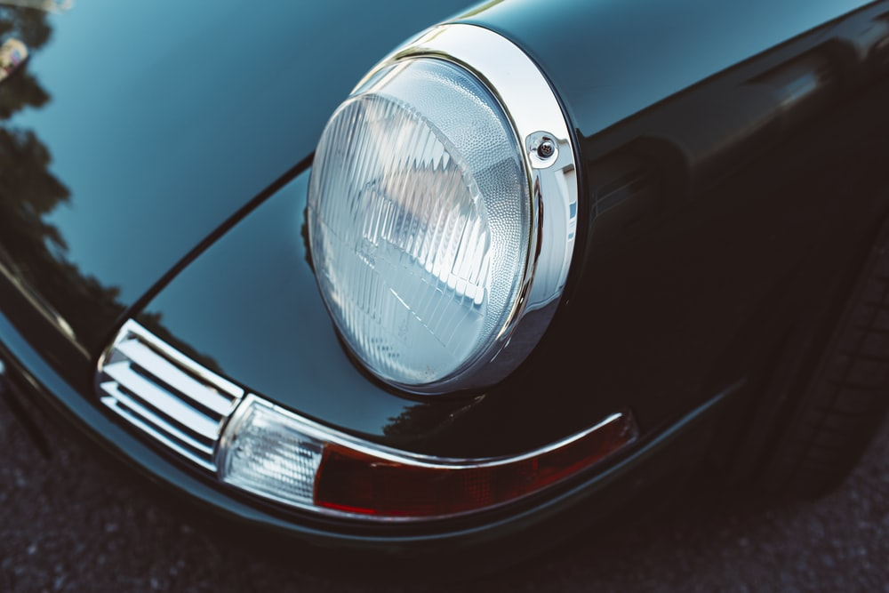 red car with silver headlight