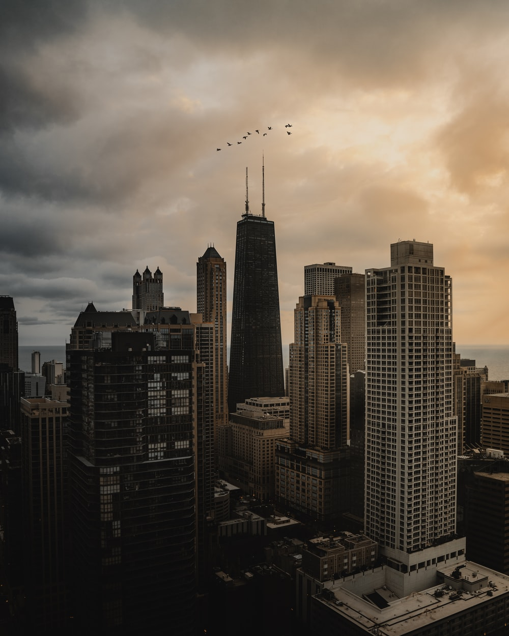 high rise buildings during sunset
