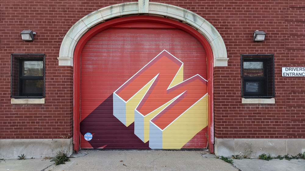 red yellow and white wooden door