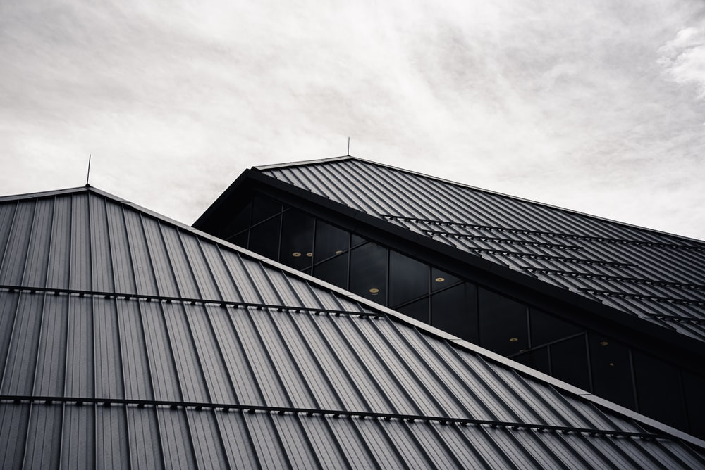 black and white glass building
