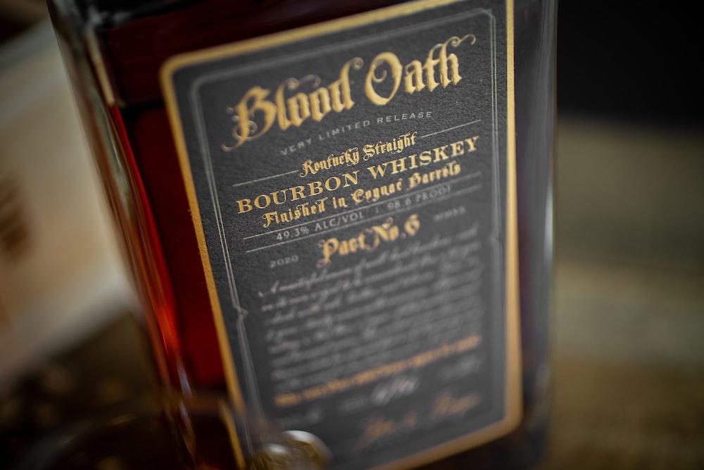 black and gold label bottle