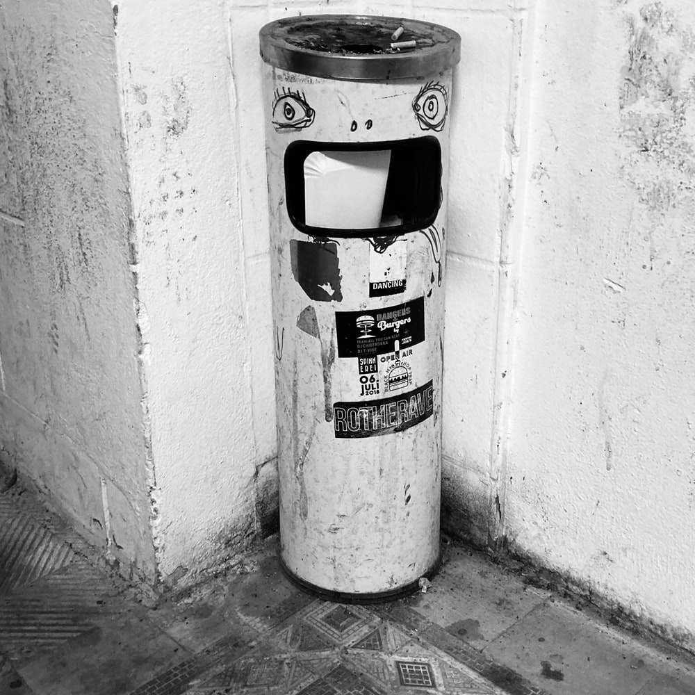black and white fire extinguisher