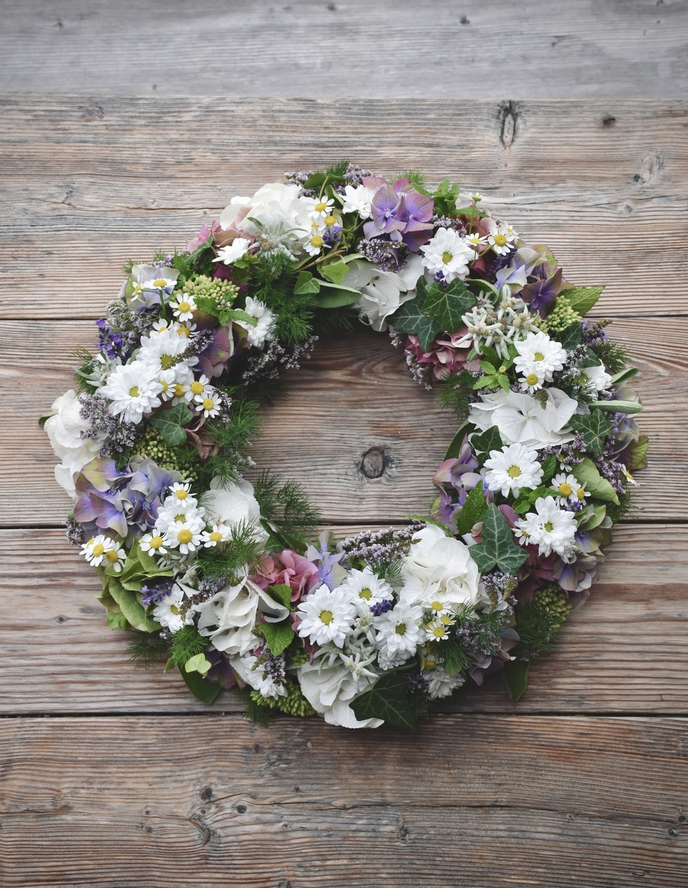 white purple and green floral wreath