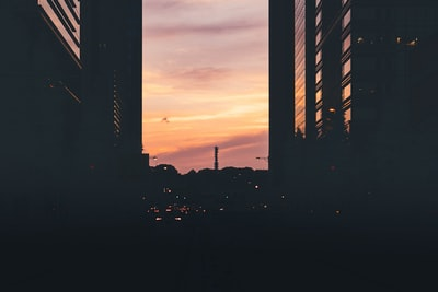 Tokyo silhouette of city buildings during sunset