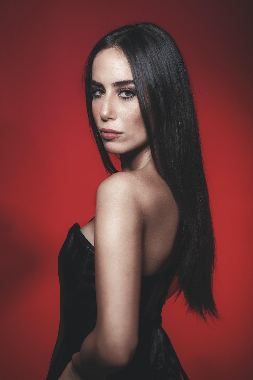 woman in black tube dress