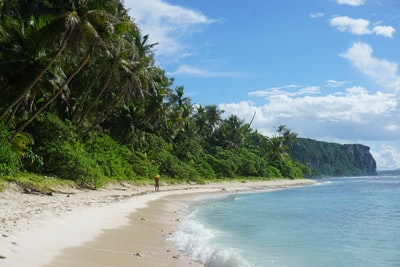 people on beach during daytime micronesia teams background