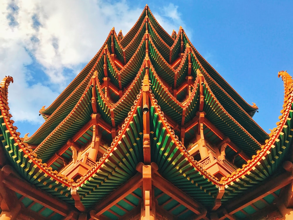 brown and green pagoda temple under blue sky during daytime