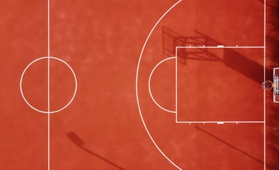 red and white abstract painting basketball court teams background