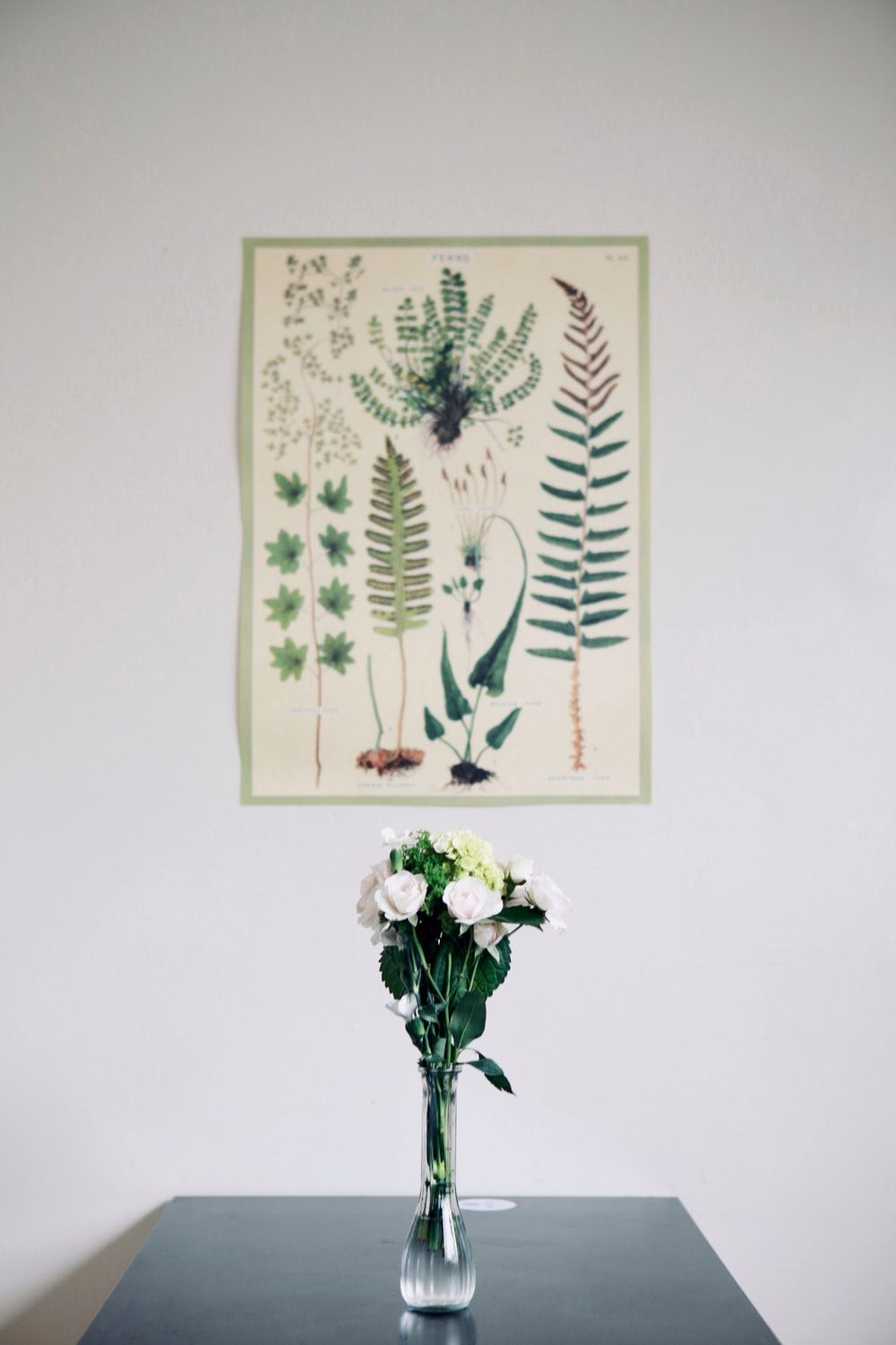 white and green floral wall decor