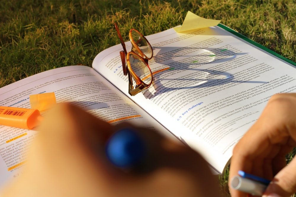 brown framed sunglasses on book page