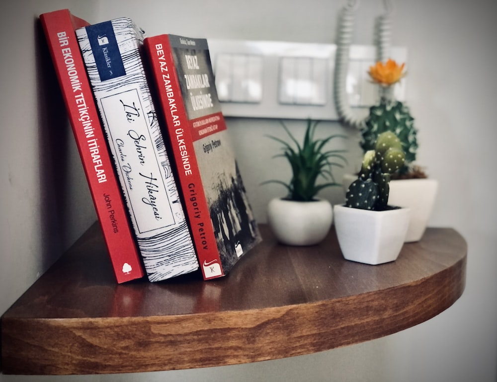 books on brown wooden table