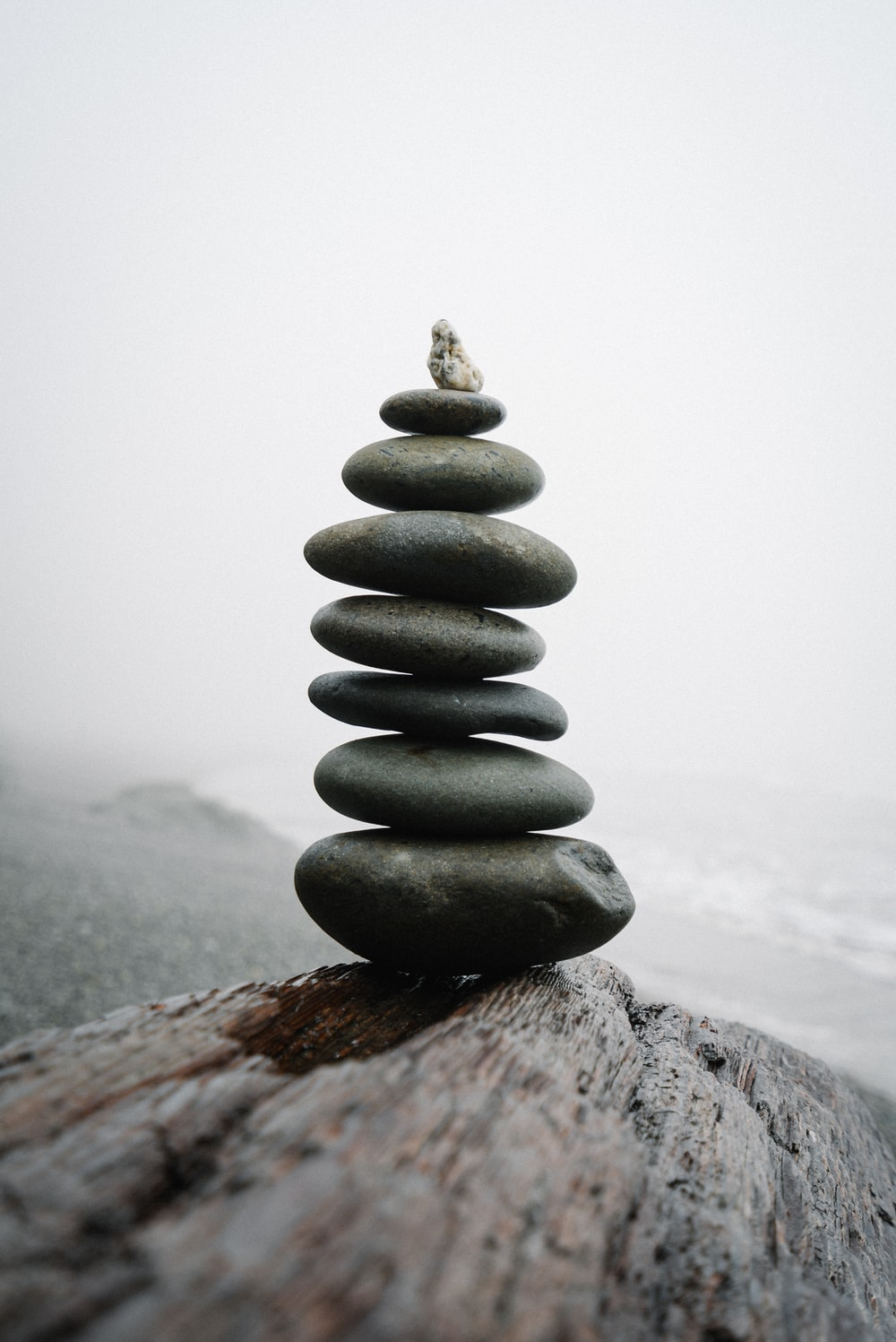 gray stone stack on gray rock