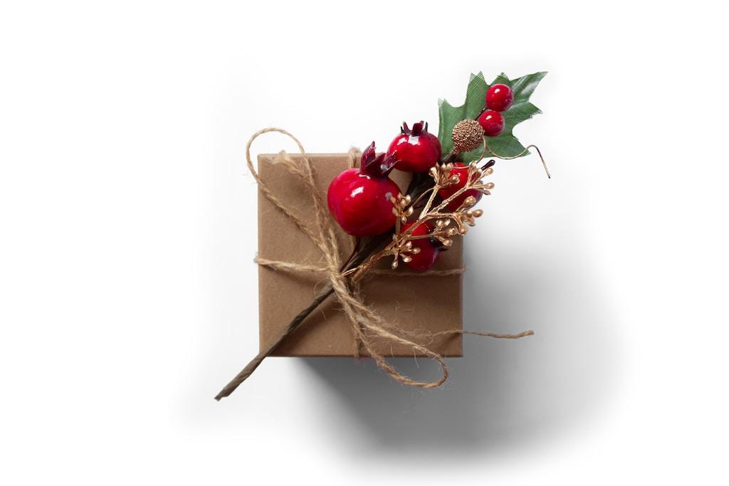 red cherries on brown gift box