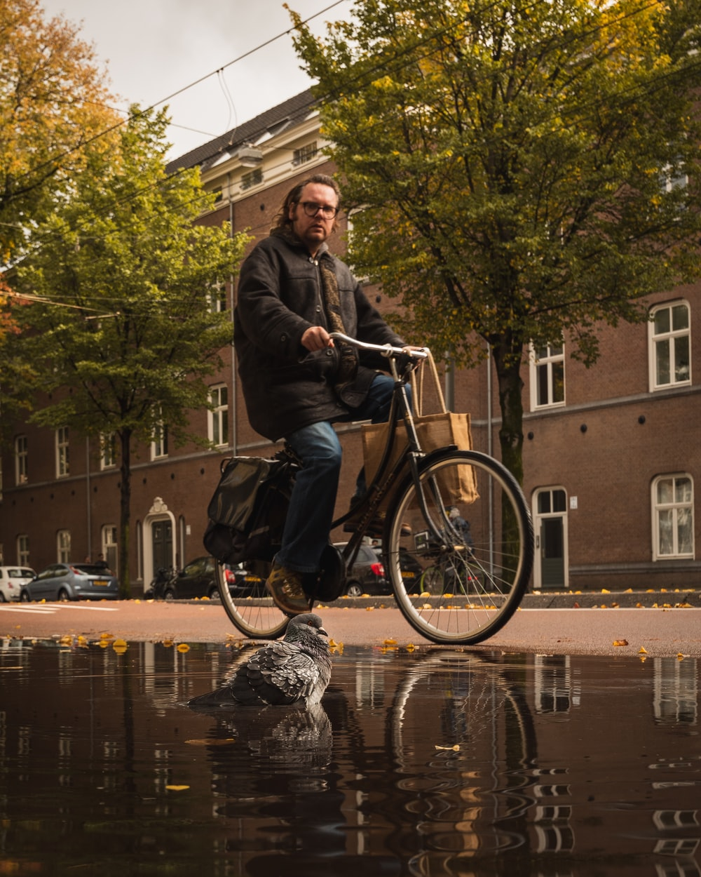 man in black jacket riding on bicycle