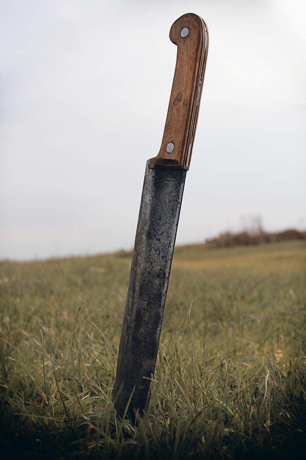 black handle knife on green grass field during daytime