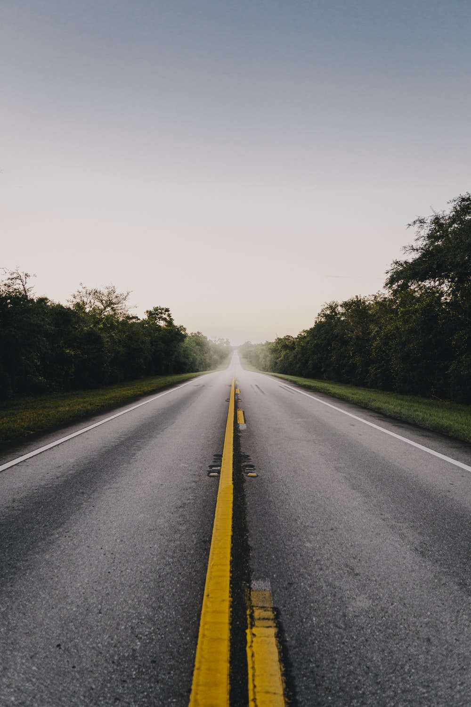 gray asphalt road between green trees under white sky during daytime