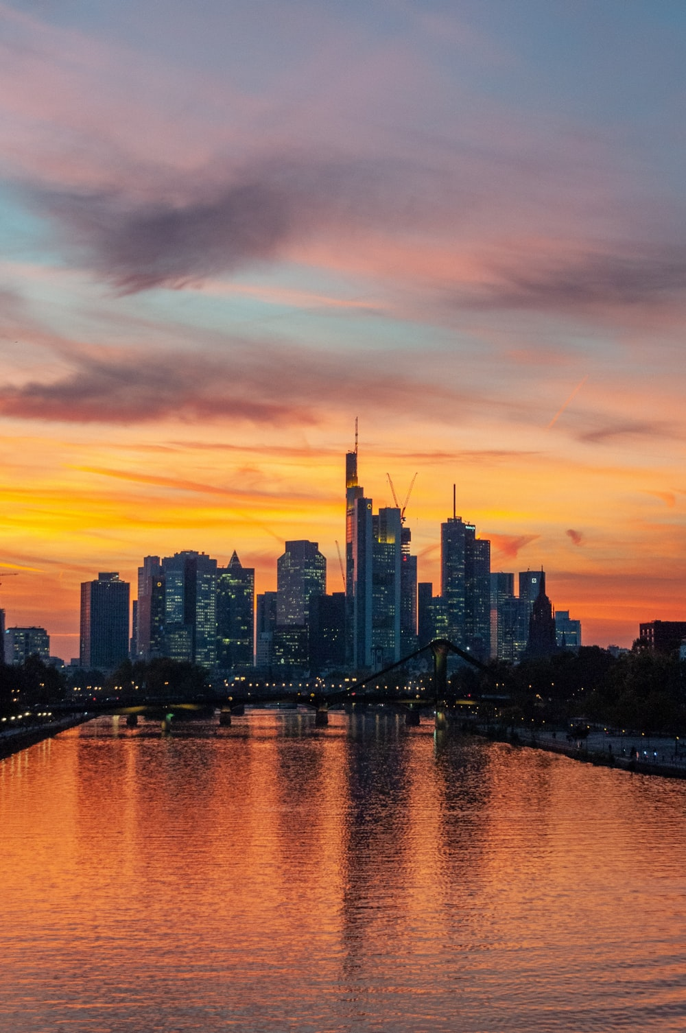 city skyline during sunset with bridge
