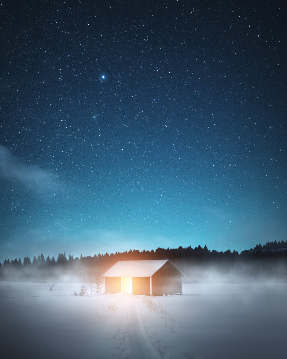 brown wooden house on snow covered ground under starry night