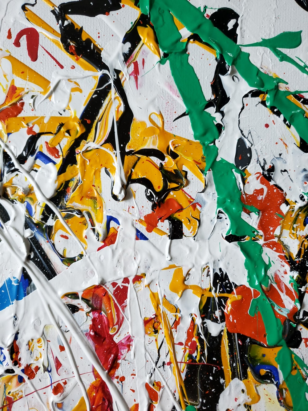green yellow and white abstract painting