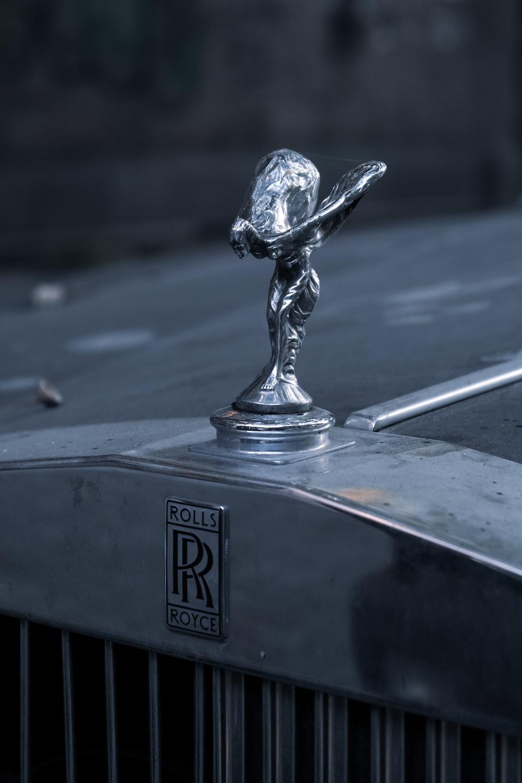silver steel bird figurine on black surface