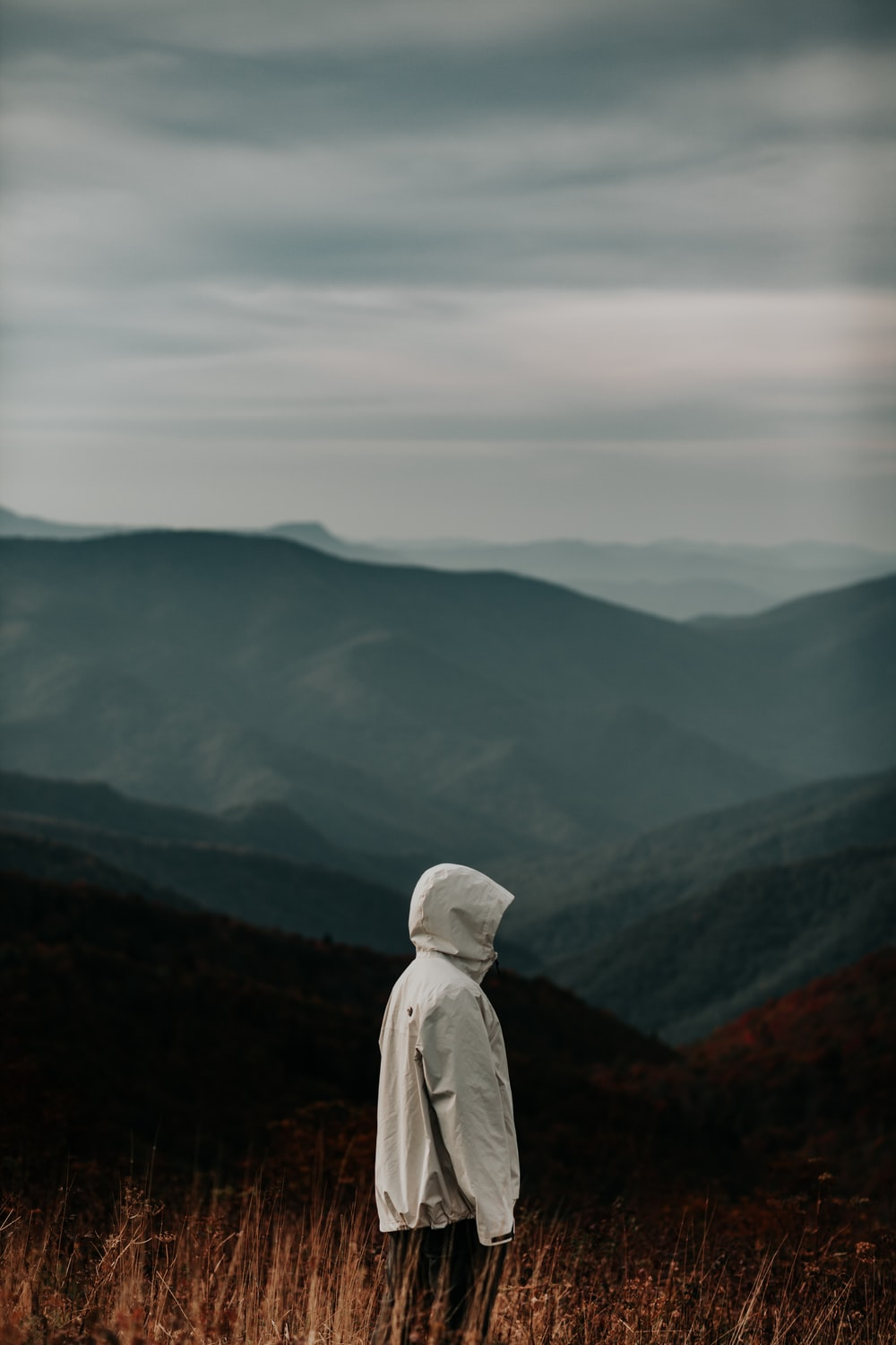 person in gray hoodie standing on top of mountain during daytime