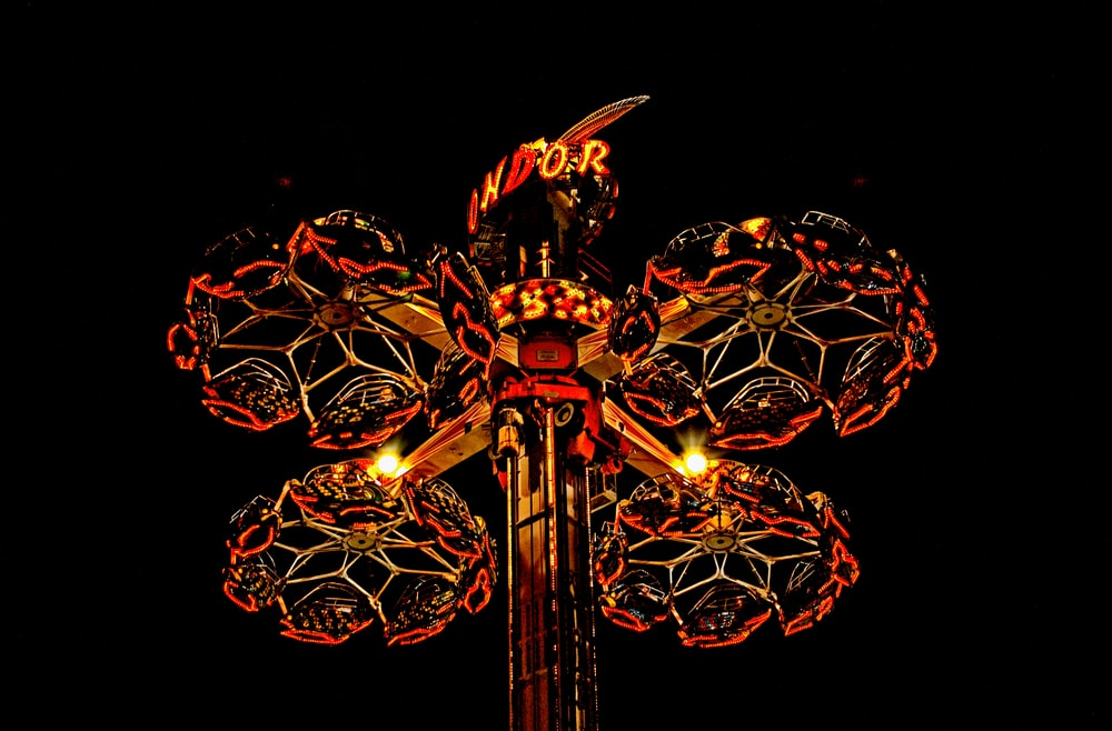 red and yellow lighted decor