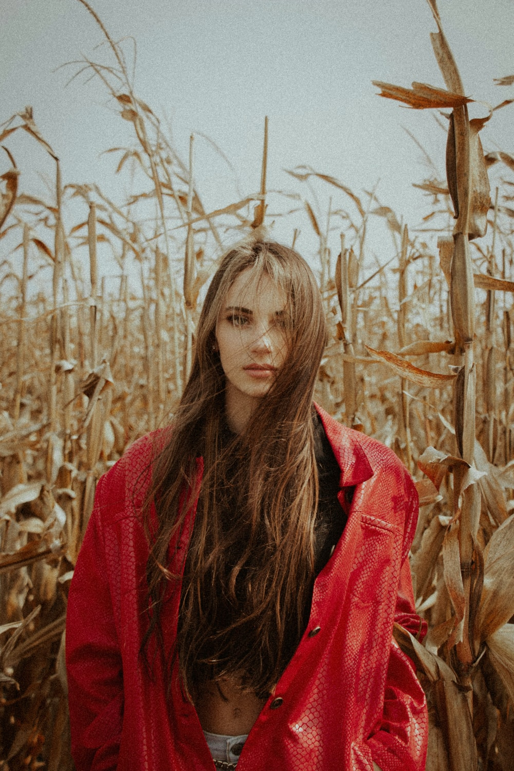 woman in red scarf standing in the middle of wheat field