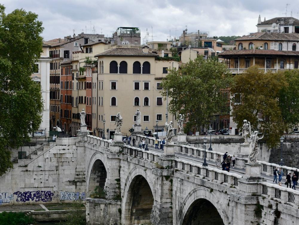 white concrete bridge over river