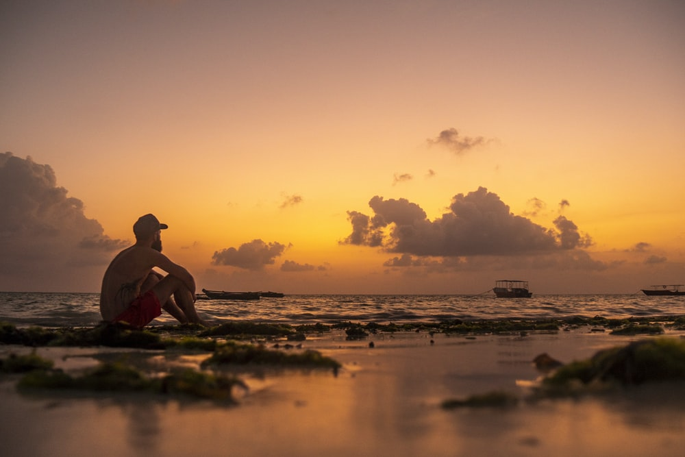 silhouette of man sitting on shore during sunset