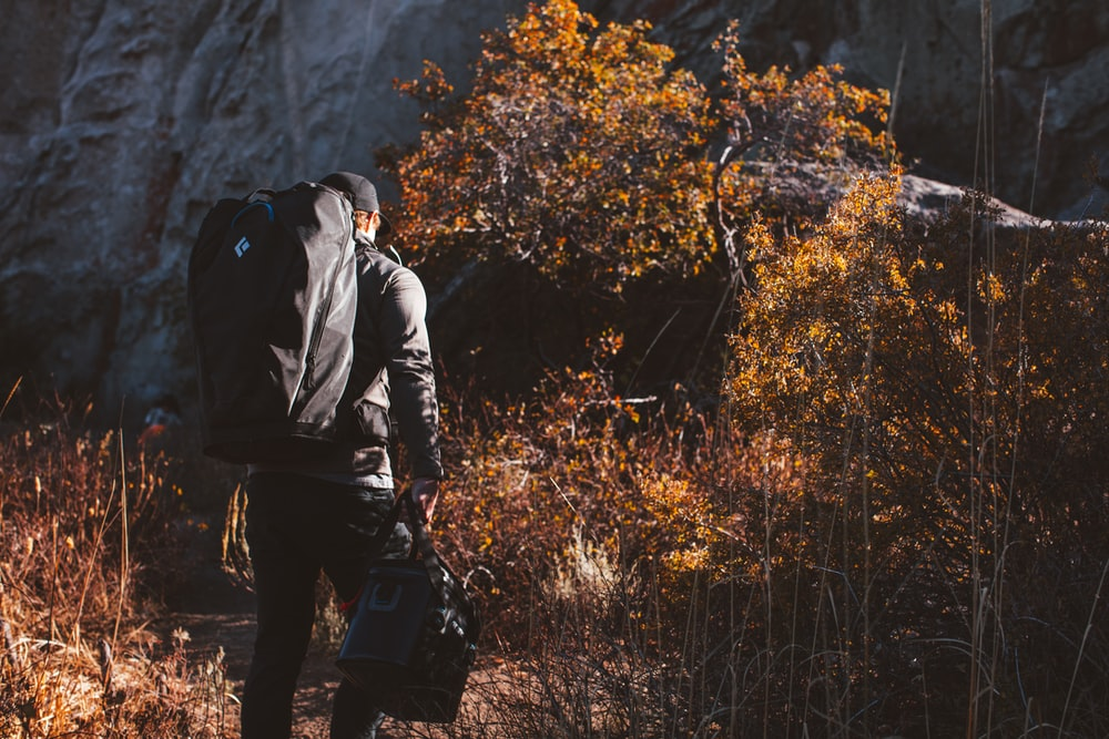 man in black jacket carrying black backpack standing near brown trees during daytime
