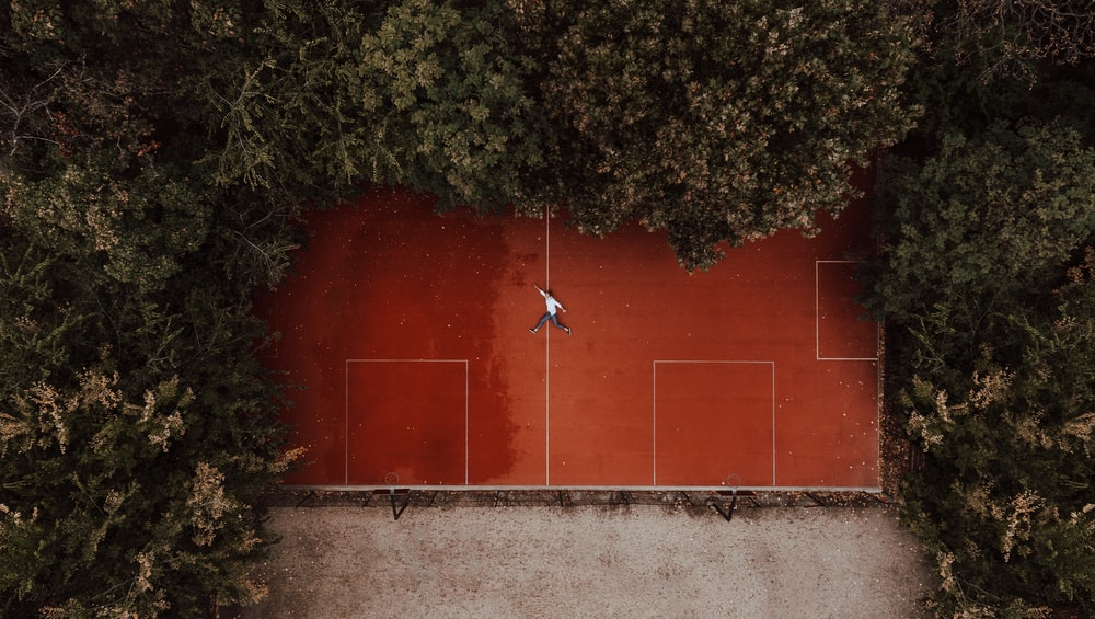 red and white basketball court