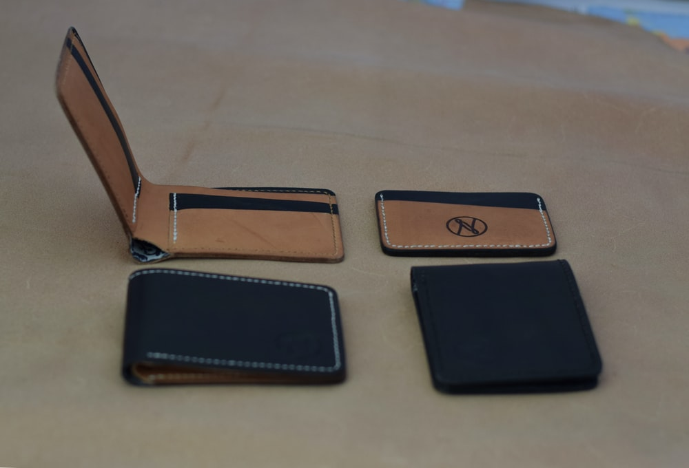 black and brown leather flip case
