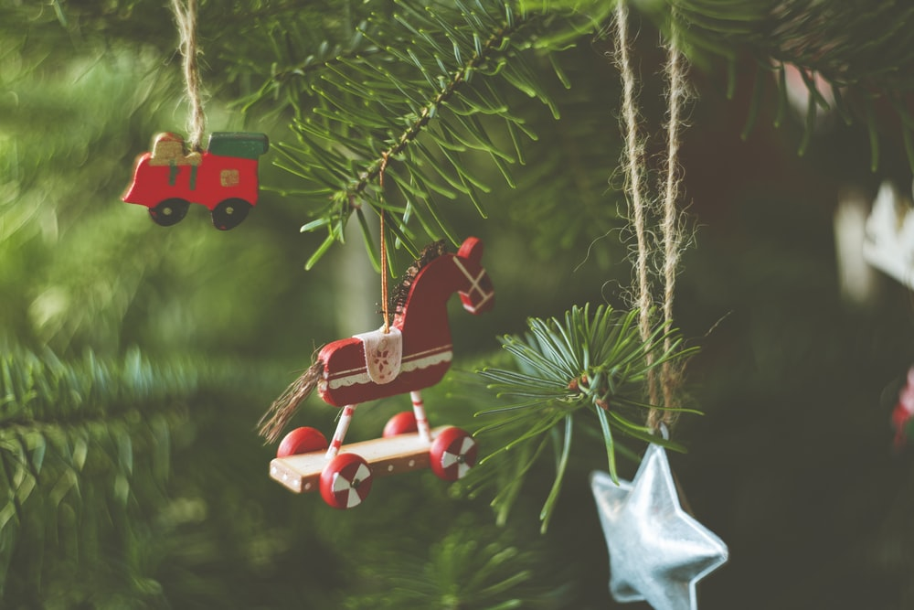 red and white plastic toy on green pine tree