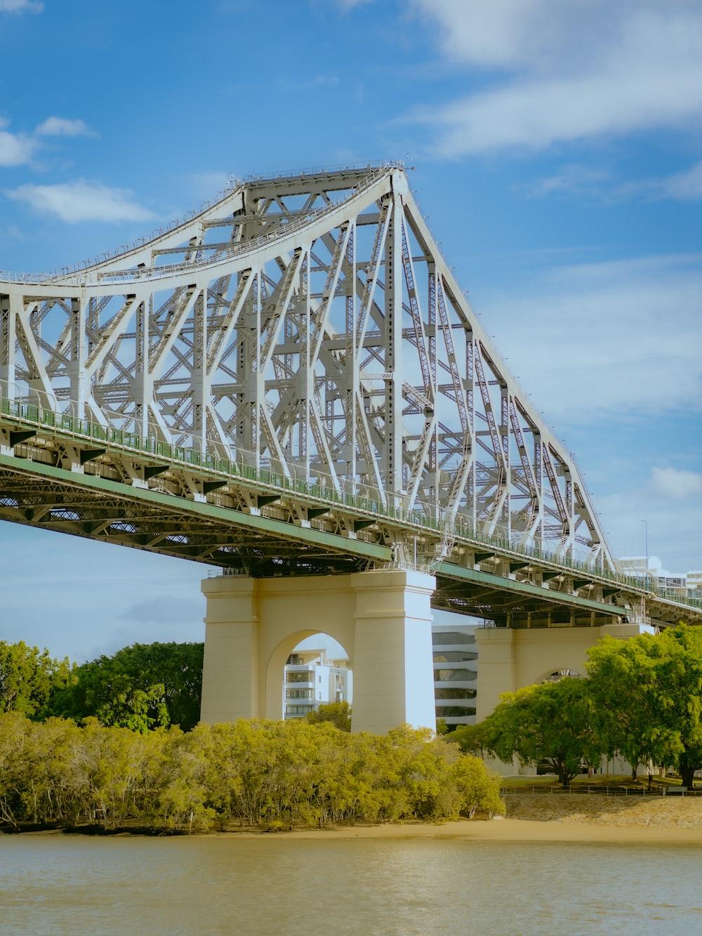 white metal bridge over green trees during daytime
