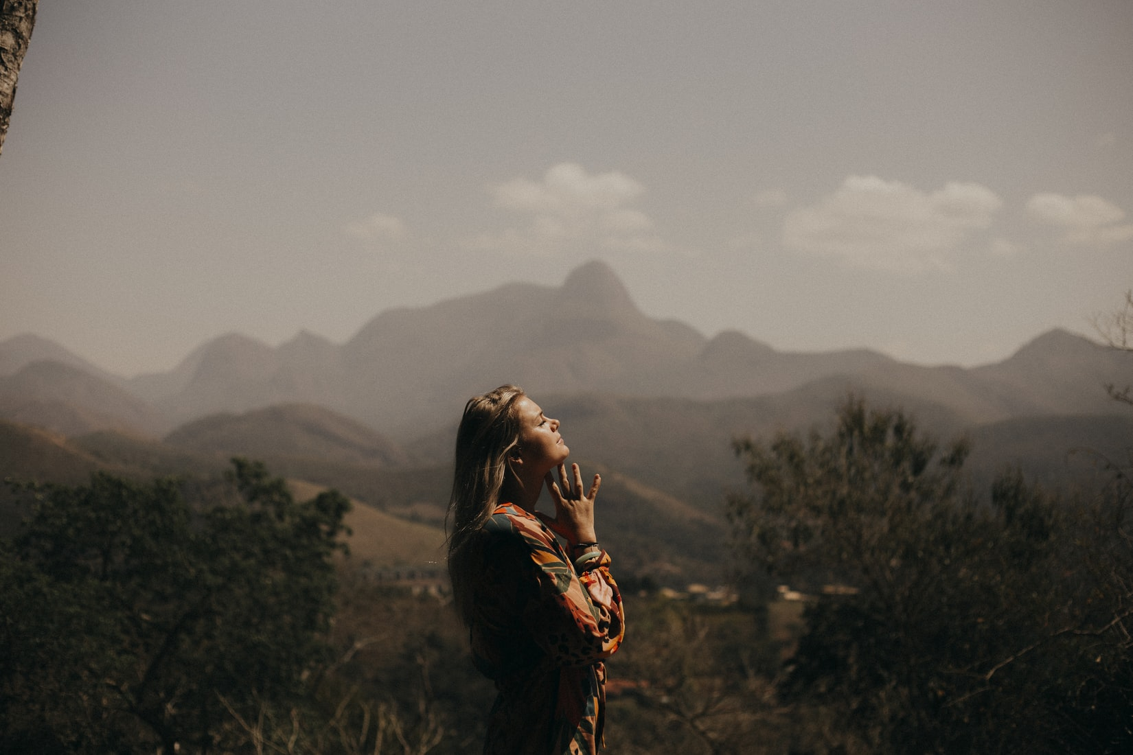 Woman in mountain nature
