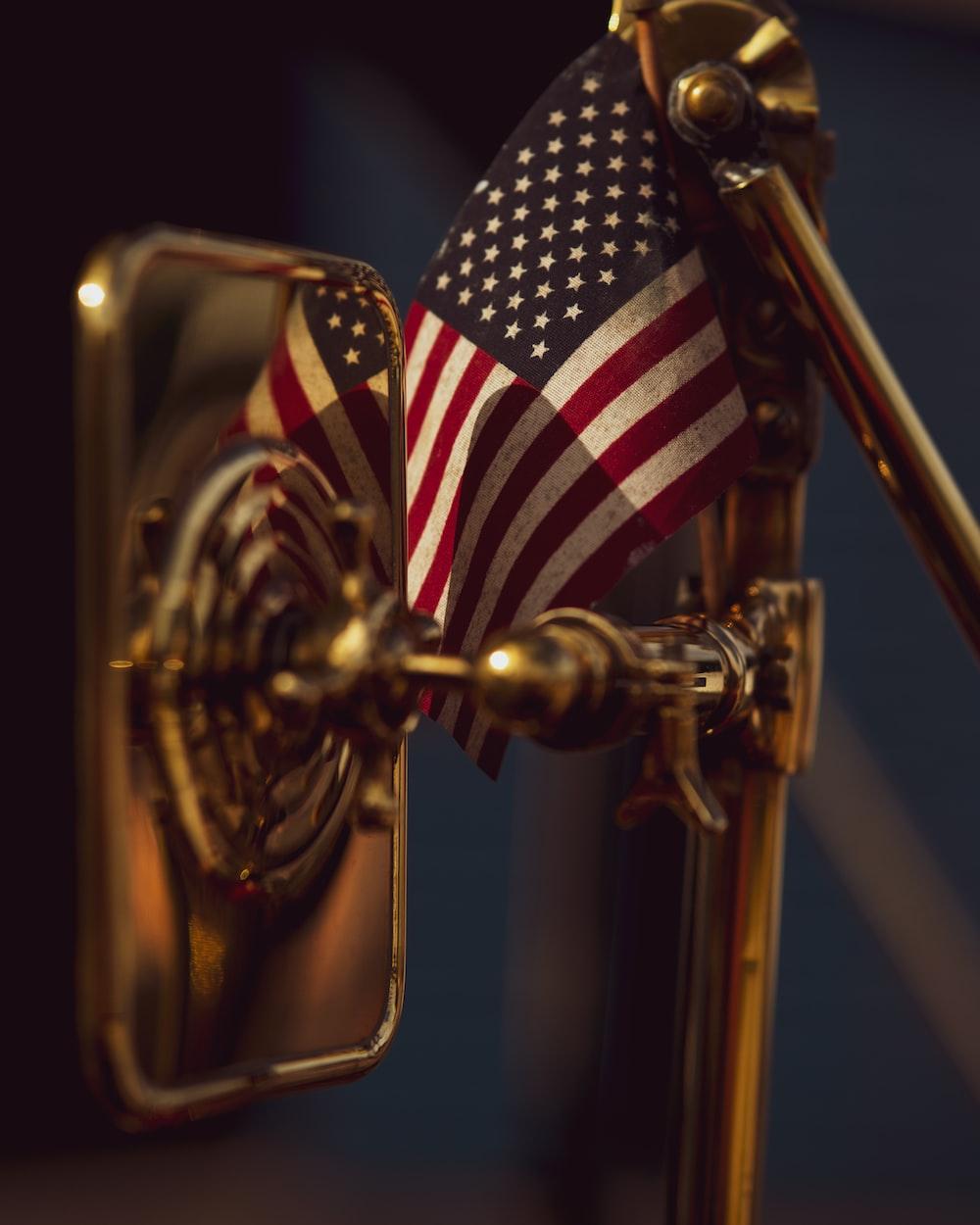 us a flag on brass door handle