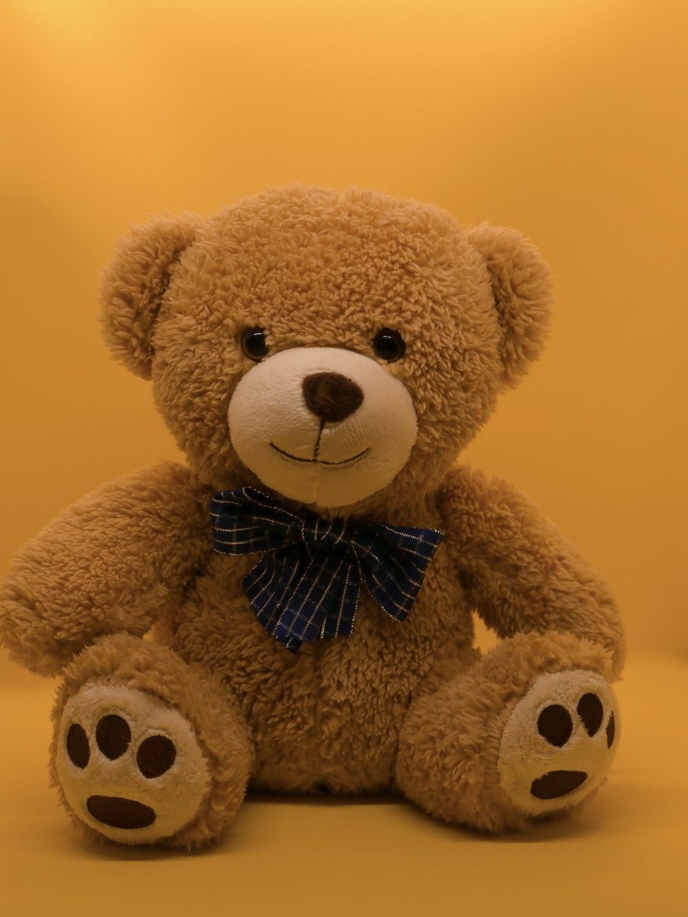 brown teddy bear with black and white bow tie