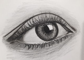 persons eye in grayscale