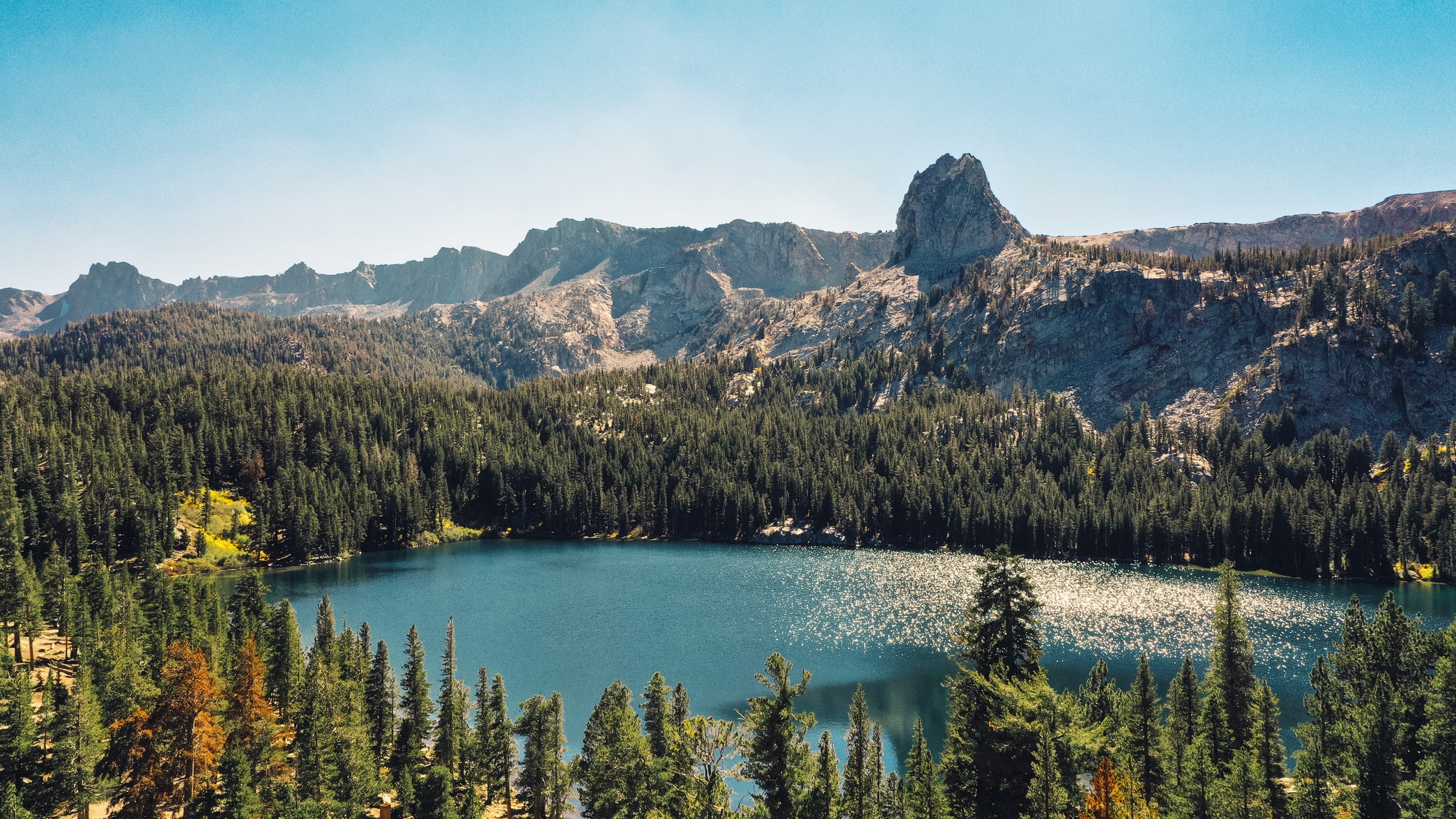 blue lake near mammoth lakes, california