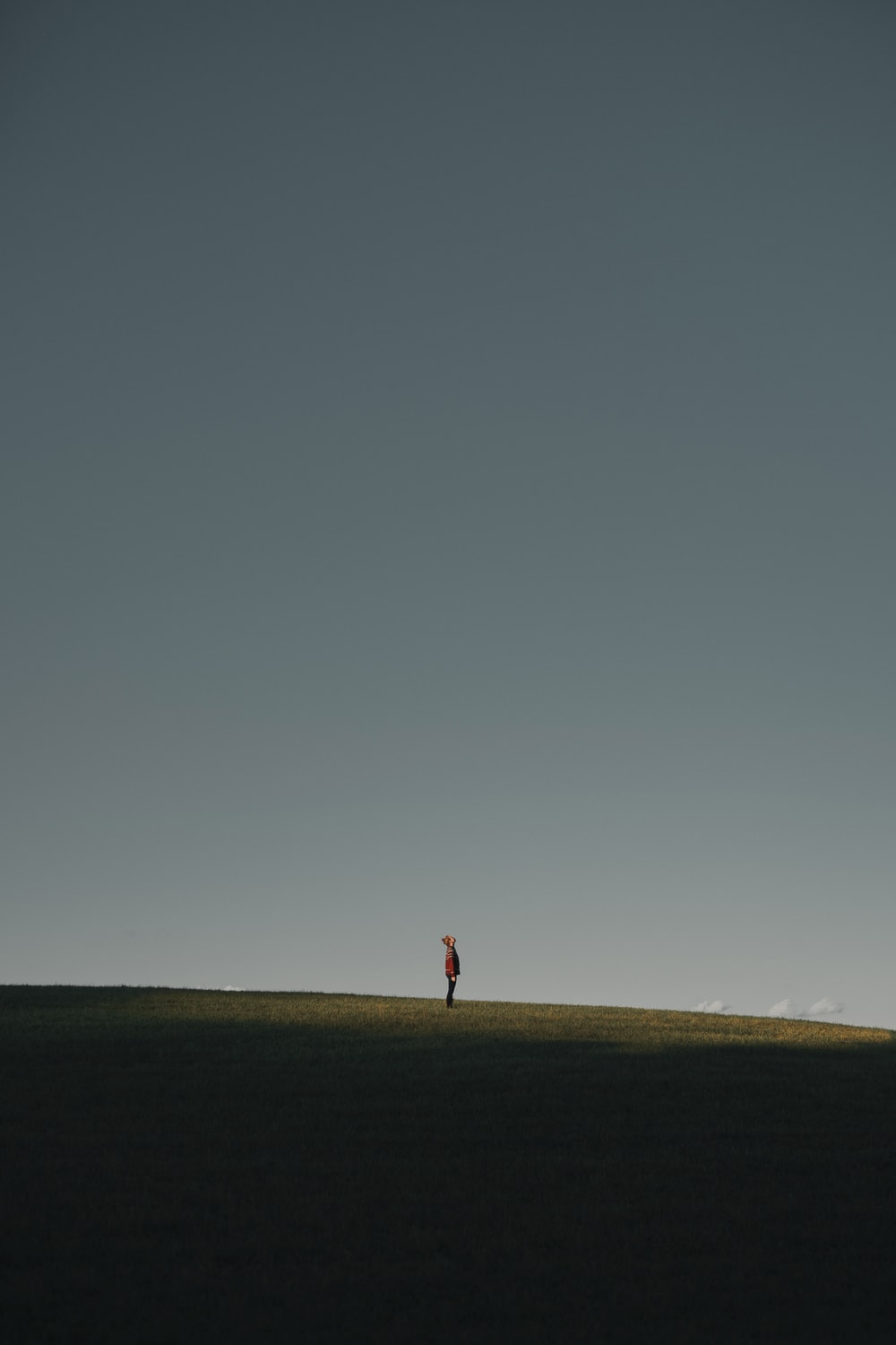 person in red shirt walking on brown field under gray sky during daytime