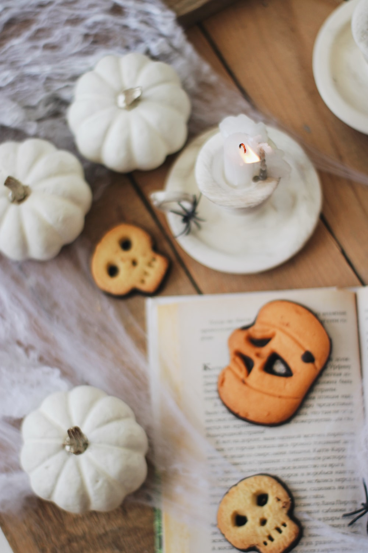 white and orange pumpkin on white ceramic plate
