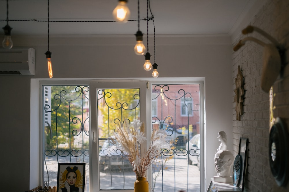 white and brown pendant lamp
